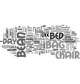 bean bag chair bed text word cloud concept vector image vector image