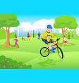 boy riding bicycle at city park vector image