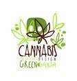 cannabis green ganja label original design logo vector image