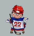 cartoon comic smiling hockey player with a stick vector image vector image