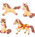 cartoon funny horses collection set vector image vector image