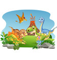 cartoon happy dinosaurs in the jungle vector image