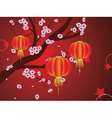 Chinese Lantern with Sakura Branch7 vector image