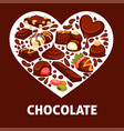 chocolate candy and comfit heart poster vector image vector image