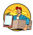 courier delivery of parcels and mail postman vector image vector image