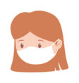 covid 19 coronavirus girl with medical mask vector image