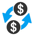 dollar exchange flat icon vector image