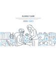 elderly care - modern line design style banner vector image vector image