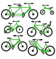 flat cartoon green bicycle set vector image vector image