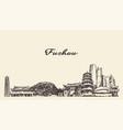 fuzhou skyline fujian province china sketch vector image