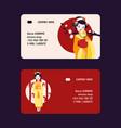 geisha business-card japanese beautiful vector image