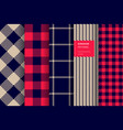 gingham plaid seamless pattern set vector image