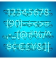 Glowing Neon Azure Blue Numbers vector image vector image