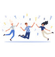 group happy jumping or dancing young people vector image