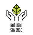 hand carefully holding green leaf line icon vector image vector image