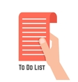 hand holding red to do list vector image vector image