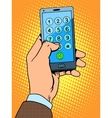 Hand smartphone phone number vector image vector image