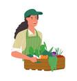 happy farmer woman with organic vegetable box vector image