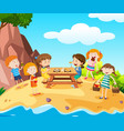 happy kids having lunch on island vector image vector image