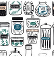 herbs and spices jars seamless pattern vector image
