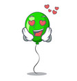 in love green ballon with cartoon ribbons
