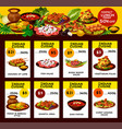 indian restaurant menu offer cards vector image vector image