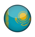 kazakhstan flag in glossy round button of icon vector image