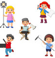 kids in different theater roles from director to a vector image