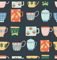 kitchen seamless pattern ceramic cups flat vector image
