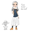 lovely fashion girl with dog vector image vector image