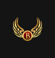 luxury letter b emblem wings logo design concept vector image vector image