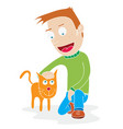 man and his tame cat vector image vector image