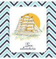 marine holidays cards with ship vector image vector image