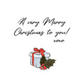 merry christmas greeting card with meadow berry vector image vector image