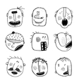 Modern doodle drawing outline cartoon people faces
