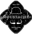 Moustache vintage black emblem retro grunge vector image