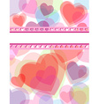 Multicolor transparent hearts love card vector image vector image