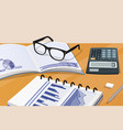 notebook and calculator set vector image vector image
