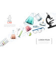 realistic laboratory research elements template vector image vector image