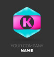 realistic letter k logo in colorful hexagonal vector image vector image