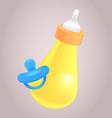 realistic of baby bottle and pacifier for yo vector image vector image