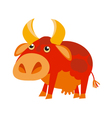 red cow funny cartoon simple vector image