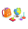school backpack full of books chemical flasks vector image vector image