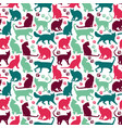 seamless pattern nicecolors cats background vector image