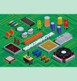 semiconductor isometric background vector image vector image