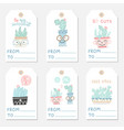 set tags with succulents and cactuses vector image vector image