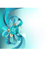 silk bow with a turquoise rose vector image vector image