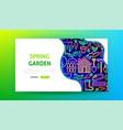 spring garden neon landing page vector image vector image