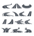 stylized symbols of road and highway pictures for vector image vector image