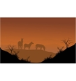 Zebra silhouette in hills vector image